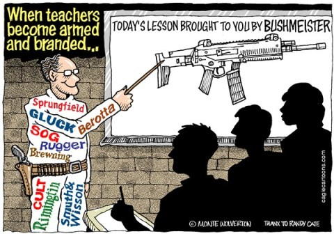 Wolverton - Cagle Cartoons - Armed Teachers COLOR - English - Product placement, Guns, Schools, Gun Violence, Assault Weapons, Firearms, Firearm manufacturers, NRA, Gun Control