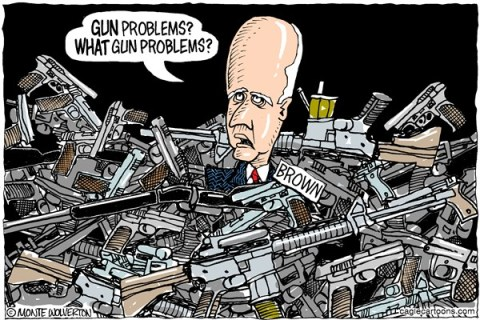 Wolverton - Cagle Cartoons - LOCAL-CA Jerry Brown Gun Denial COLOR - English - Gun control,Jerry Brown,California,Gun laws,NRA,Assault Weapons, gun debate 2012, guns, nra, NRA 2012, second amendment