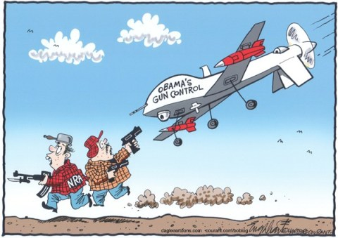 Bob Englehart - The Hartford Courant - President Obama's Gun Control - English -
