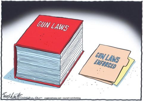 Bob Englehart - The Hartford Courant - Gun Laws - English -