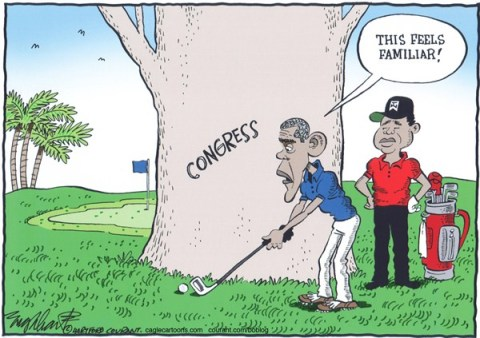 Bob Englehart - The Hartford Courant - Obama and Tiger Woods COLOR - English -