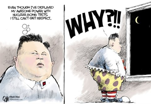 Cardow - The Ottawa Citizen - No respect COLOR - English - Kim, Jong, Un, nukes, nuclear, test, north, korea