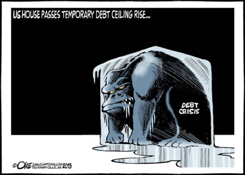 Olle Johansson - Sweden - Debt Ceiling - English - Debt, Ceiling, Congress, Gop, Dems,  Cricis, Economy, US, Monster, Ice, block, melting, three, mounth