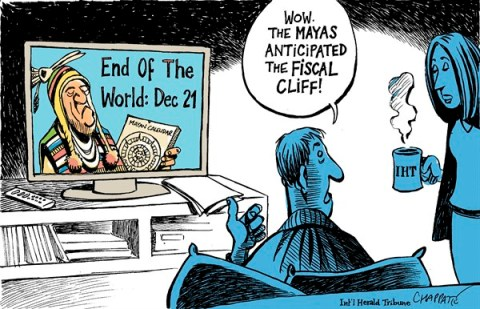 Patrick Chappatte - The International Herald Tribune - Budget armageddon is nearing - English - USA,Capitol,Parliament,Republicans,Democrats,Public Finances,State,Negotiation,End of the World,Maya,fiscal cliff, mayan calendar