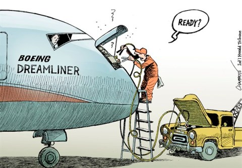 Patrick Chappatte - The International Herald Tribune - Boeing Dreamliner Problems - English - Transports, Aviation, Boeing, Dreamliner, Economy, USA, Cars