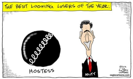Larry Wright - CagleCartoons.com - COLOR Best Looking Losers - English - Hostess; Mitt