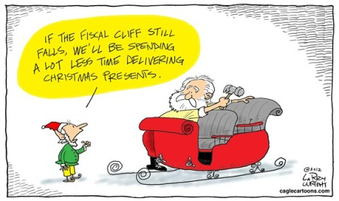 Larry Wright - CagleCartoons.com - COLOR Fiscal Gifts - English - fiscal cliff, Christmas, gifts