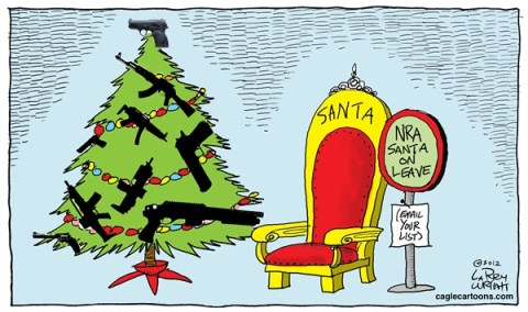 Larry Wright - CagleCartoons.com - COLOR NRA Santa on Leave - English - email your lists,gun debate 2012, nra, santa 2012