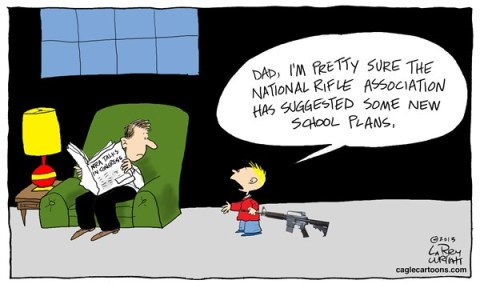 Larry Wright - CagleCartoons.com - COLOR NRA School Plans - English - Rifles, kids