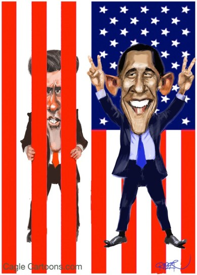 Riber Hansson - Sweden - Obama, Romney, Stars and Stripes - English - Obama, Romney, Election, Winner