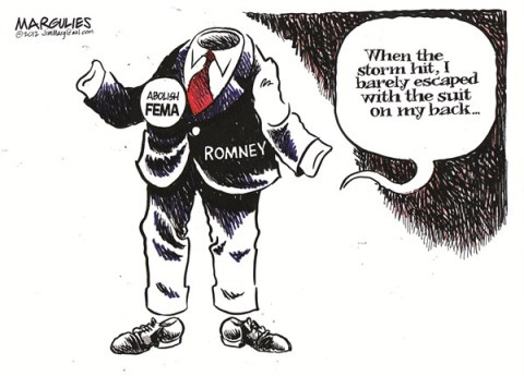 Jimmy Margulies - The Record of Hackensack, NJ - Romney and FEMA color - English - Romney, Mitt Romney, FEMA, Hurricane Sandy, Federal Government, Emergency Disaster relief