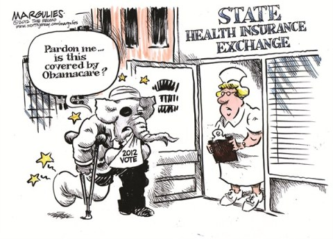 Jimmy Margulies - The Record of Hackensack, NJ - State Health Insurance Exchanges color - English - Obamacare, Republicans, 2012 election, State Health Insurance Exchanges