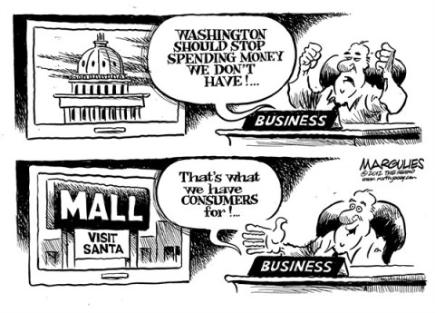 Jimmy Margulies - The Record of Hackensack, NJ - spending money we don't have - English - Fiscal cliff, deficit, debt, spending, Christmas shopping, consumers, consumer confidence, consumer debt, economy, credit cards