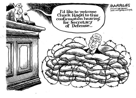 Jimmy Margulies - The Record of Hackensack, NJ - Hagel nomination - English - Chuck Hagel, Senator Hagel, Hagel nomination, Pentagon, Secretary of Defense,Iraq war, Israel policy, Gays in the military