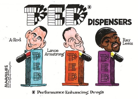 Jimmy Margulies - The Record of Hackensack, NJ - Performance enhancing drugs color - English - Performance enhancing drugs, doping in sports, A-Rod, Lance Armstrong, Ray Lewis, steroids, human growth hormone