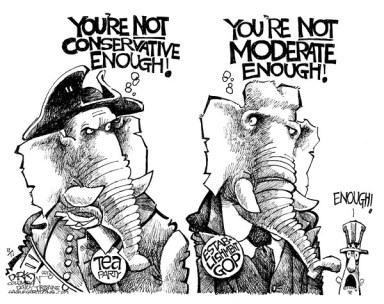 John Darkow - Columbia Daily Tribune, Missouri - GOP Blame Game - English - GOP, Blame, Game, Dems, Conservative, Moderate, Tea Party, Establishment,
