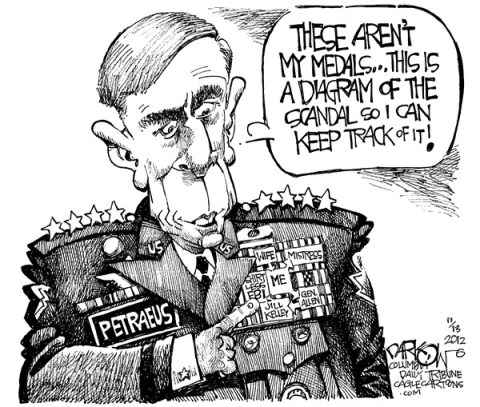 "John Darkow - Columbia Daily Tribune, Missouri - Gen David ""The Surge"" Petraeus - English - General, Armed Services, Navy, Army, Diagram, Scandal, Medals, Wife, Mistress, FBI, Charge, Rank, Cover Up, Hide, Email"