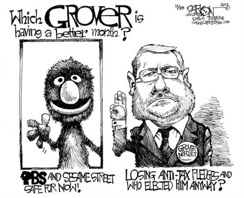 John Darkow - Columbia Daily Tribune, Missouri - Is it over for Grover - English - Grover, Norquist, PBS, Sesame Street, Month, Elect, Lose, anti-tax, off the air, GOP, rich, americans