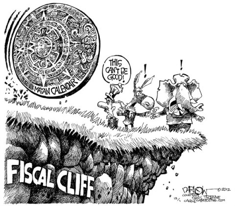John Darkow - Columbia Daily Tribune, Missouri - Fiscal Cliff Meets Mayan Calendar - English - Mayan,Calendar,Republican,Democrats,Cliff,Fiscal,Good,Bad,Grass,Rocks,Roll,Hill,Crumble,Fall,fiscal cliff