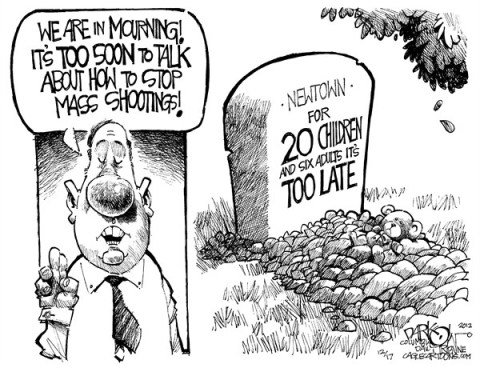 John Darkow - Columbia Daily Tribune, Missouri - Too Soon Too Late - English - Children, Die, Bury, Cemetery, Babies, Teddy Bear, Newton, Late, Mourning, Sad, Soon, Stop, Mass, Shootings