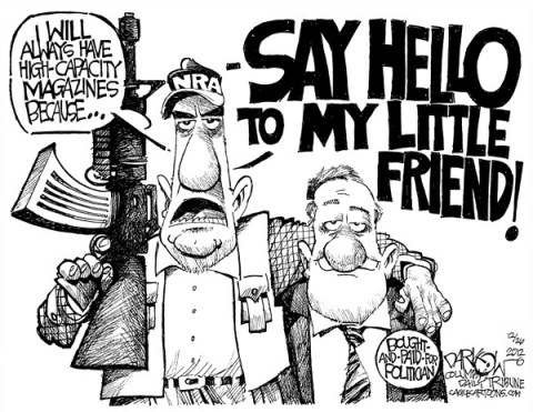 John Darkow - Columbia Daily Tribune, Missouri - NRA's Little Friend - English - NRA, Lobbyist, gun control, right to carry