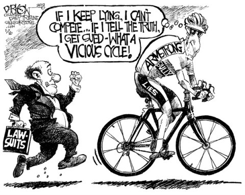 John Darkow - Columbia Daily Tribune, Missouri - Lance's Vicious Cycle - English - Lance, Armstrong, Lie, Lawsuit, Cycle, Vicious, Compete, Truth, Bully, Run, Ride, Sue