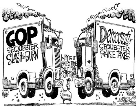 John Darkow - Columbia Daily Tribune, Missouri - Congress Playing Chicken - English - Congress, GOP, Slash, Crash, Burn, Chicken, Economy, Politics, Government, Democrats, Taxes, Democrats, GOP, Hurt, Sequester, Head, Smash