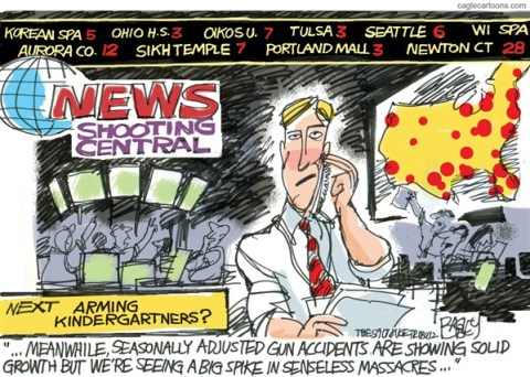 Pat Bagley - Salt Lake Tribune - All Guns All the Time COLOR - English - Congress,NRA,Gun Control,Sandy Hook,Newtown,Bushmaster,Rifle,Gun,Assault Weapon,Magazine,bullets,Massacre,Regulation,gun debate 2012, nra