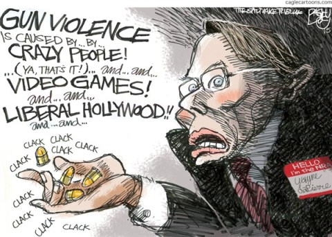 Pat Bagley - Salt Lake Tribune - Bullets Over Bedlam - English - LaPierre, Crazy, Nuts, NRA, Caine Mutiny, Guns, Weapons, Rifles, Magazines, Clips, Newtown
