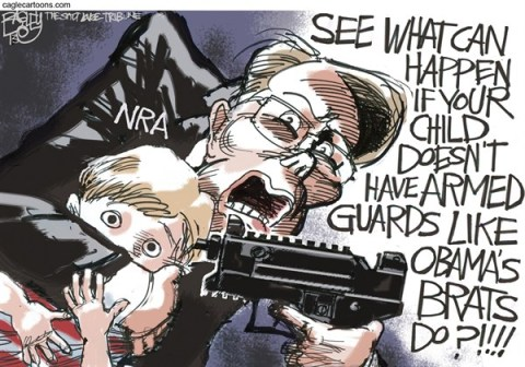Pat Bagley - Salt Lake Tribune - NRA Child Safety  - English - NRA, LaPierre, Wayne, Children, Sandy Hook, Obama, Guns, Secret Service, Newtown, Armed, Guards, Sasha, Malia