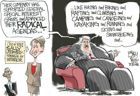 Pat Bagley - Salt Lake Tribune - Jewell of a Secretary - English - Sally Jewell, Jewell, REI, Interior, Cabinet, Appointee, Congress, Rob Bishop, Utah, Recreation, Outdoors, Fitness, Health