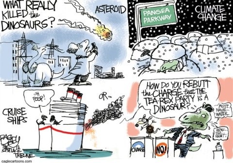 Pat Bagley - Salt Lake Tribune - Dino Disaster - English - Asteroid, Dinosaurs, Cruise Ship, Carnival, Meteor, Russia, Climate Change, Rubio, Water Bottle, Change, GOP, Democrats, Republicans