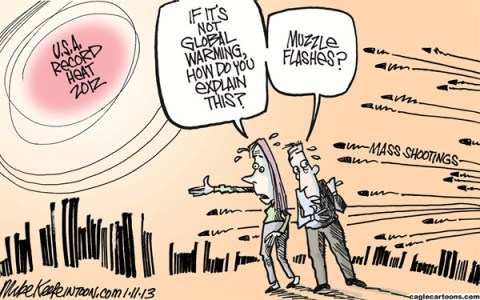 Mike Keefe - Cagle Cartoons - Record Heat COLOR - English - record; heat; climate; change; global; warming; mass; shooting; guns; nra; newtown
