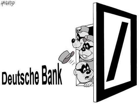 Rainer Hachfeld - Neues Deutschland, Germany - Deutsche Bank robbers - English - The Beagle Boys looking out of the Deutsche Bank