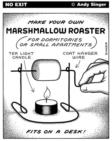 Andy Singer - Politicalcartoons.com - Marshmallow Roaster - English - marshmallow,marshmallows,roast,roasts,roasting,toast,toasting,toaster,roaster,roasters,toasters,candle,candles,flame,coat,hanger,hangers,wire,apartment,apartments,dormitory,dormitories,food,foods,eating,eat,diet,diets,dessert,desserts,craft,crafts