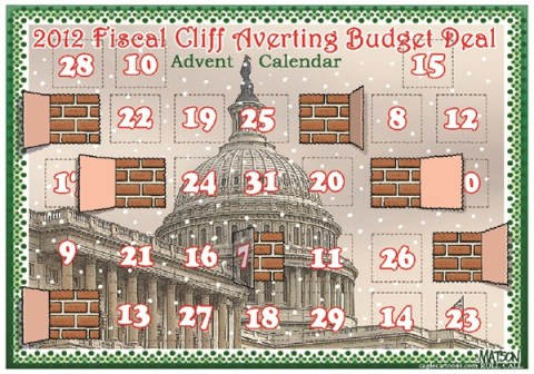 RJ Matson - Roll Call - Fiscal Cliff Averting Budget Deal Advent Calendar-COLOR - English - Fiscal Cliff Averting Budget Deal Advent Calendar,Congress,Christmas,Advent Calendar,Fiscal Cliff,Federal Budget,Budget Deal