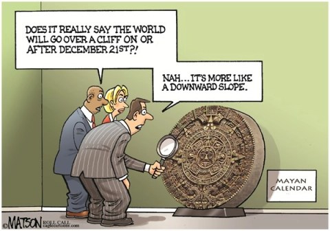 RJ Matson - Roll Call - Mayan Calendar Fiscal Cliff Prediction-COLOR - English - Mayan Calendar Fiscal Cliff Prediction,Fiscal Cliff,Slope,Congress,Federal Budget,US Economy,Spending Cuts,Tax Hikes,