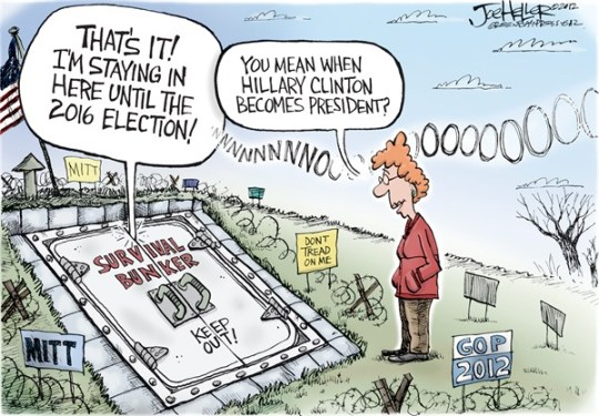 Joe Heller - Green Bay Press-Gazette - Post-Election - English - Post-Election, bomb shelter, survival, mitt romney, Hillary Clinton, Obama wins