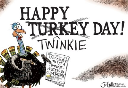 Joe Heller - Green Bay Press-Gazette - Turkey Day - English - turkey day, twinkie, hostess, thanksgiving