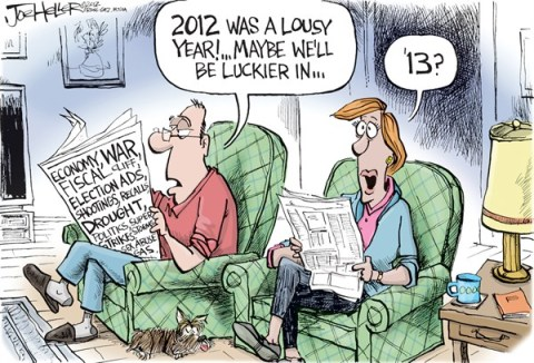 Joe Heller - Green Bay Press-Gazette - Lucky 13 - English - lucky 13, 2013, new years