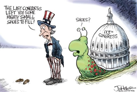 Joe Heller - Green Bay Press-Gazette - The New Congress - English - The New Congress,112th,113th,gridlock,snail,shoes to fill,uncle sam,fiscal cliff stopped