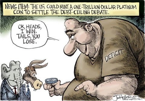 Joe Heller - Green Bay Press-Gazette - Trillion dollar coin - English -  Trillion dollar coin, debt ceiling, deficit, US treasury