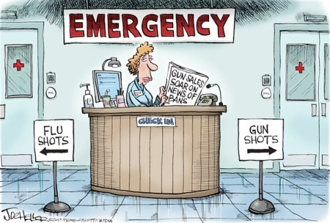 Joe Heller - Green Bay Press-Gazette - Gun Bans - English - Gun Bans, emergency, flu shots, gun shots, nra, banning, gun control, rifle