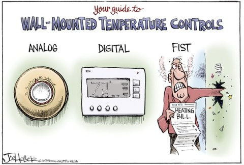Joe Heller - Green Bay Press-Gazette - Heating Bills - English - Heating bills, thermostats, temperature, analog, digital fist