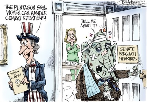 Joe Heller - Green Bay Press-Gazette - Women in Combat - English - women in combat, senate benghazi, hillary clinton, ron johnson, pentagon
