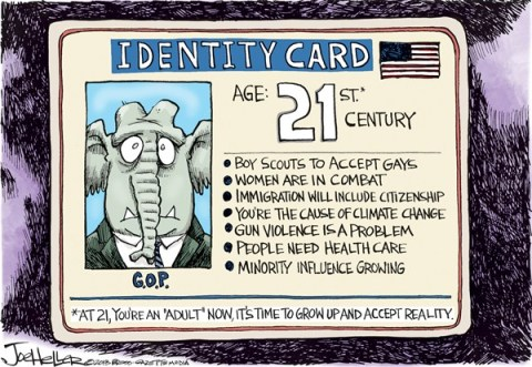 Joe Heller - Green Bay Press-Gazette - GOP Identity - English - GOP Identity, Boy scout,gay, immigration, 21st century, gun, gop, minorities, demographics, ID card