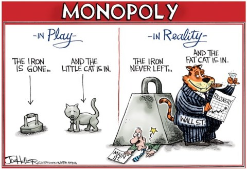Joe Heller - Green Bay Press-Gazette - Monopoly - English - Monopoly, tokens, iron, cat, main street, wall st, recovery, stock market, dow 14,000