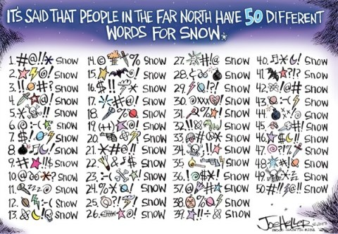 Joe Heller - Green Bay Press-Gazette - Snow - English - snow, nemo, storm, east coast, blizzard, 50 words, curse, weather, nature, inuit