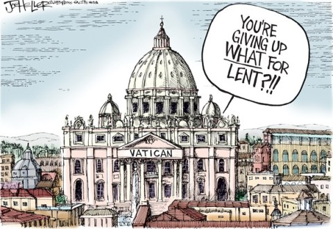 Joe Heller - Green Bay Press-Gazette - Pope Benedict Resigns - English - Pope Benedict Resigns, catholic, vatican, lent, Pope benedict xvi, roman, retires, resignation