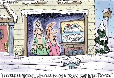 Joe Heller - Green Bay Press-Gazette - Cruise Ship - English - carnival cruise ship, winter, cabin fever, stranded, trapped, tropical, weather